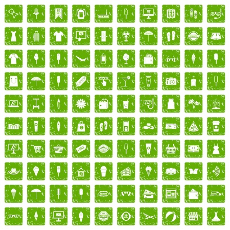 100 summer shopping icons set in grunge style green color isolated on white background vector illustration