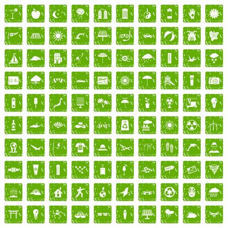 flip flops: 100 sun icons set in grunge style green color isolated on white background vector illustration