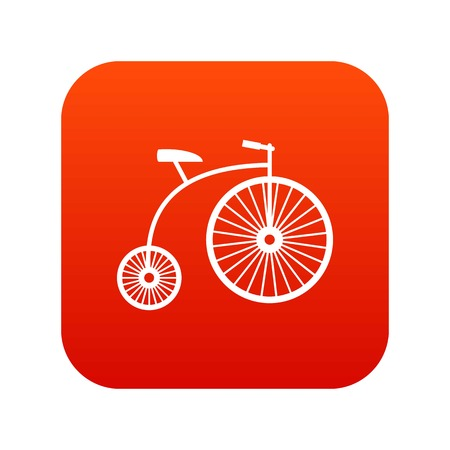 Penny-farthing icon digital red for any design isolated on white vector illustration