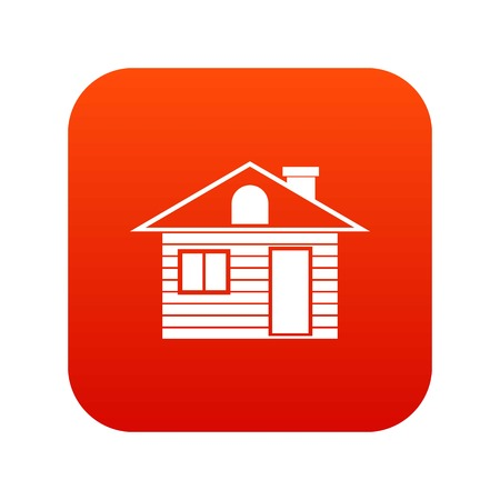 Wooden log house icon digital red for any design isolated on white vector illustration