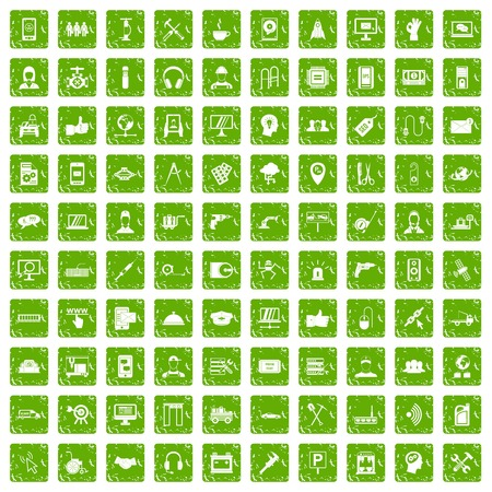 custom car: 100 support center icons set in grunge style green color isolated on white background vector illustration