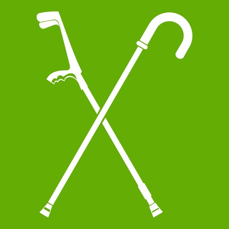 Walking cane icon white isolated on green background. Vector illustration