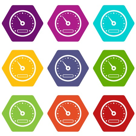 Speedometer icon set many color hexahedron isolated on white vector illustration Illustration