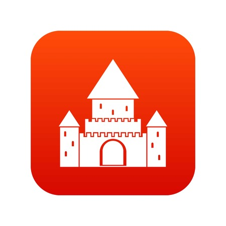 Chillon Castle, Switzerland icon digital red for any design isolated on white vector illustration Illustration