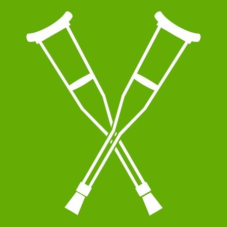 Muletas icono blanco aislado sobre fondo verde. Ilustración vectorial Ilustración de vector
