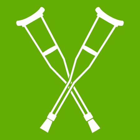 Crutches icon white isolated on green background. Vector illustration