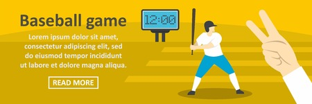 Baseball game banner horizontal concept. Flat illustration of baseball game banner horizontal vector concept for web design Illustration