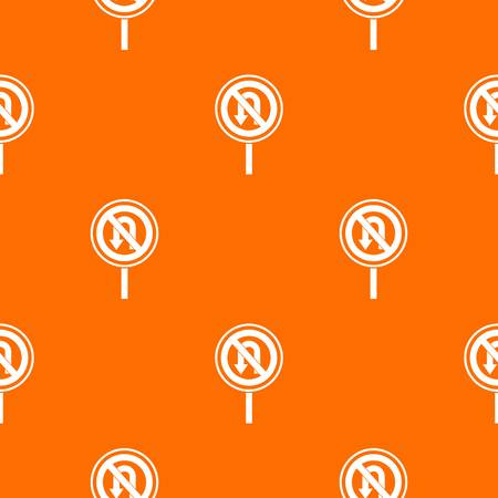 uturn: No U turn road sign pattern repeat seamless in orange color for any design. Vector geometric illustration