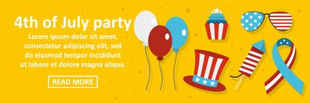 4th of july party banner horizontal concept. Flat illustration of 4th of july party banner horizontal vector concept for web design Stock Vector - 86856574