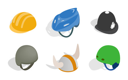 Different helmet icon set. Isometric set of different helmet vector icons for web isolated on white background