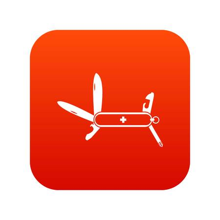Swiss multipurpose knife icon digital red for any design isolated on white vector illustration