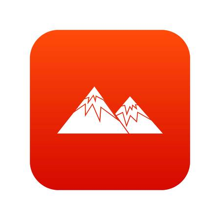 Swiss alps icon digital red for any design isolated on white vector illustration
