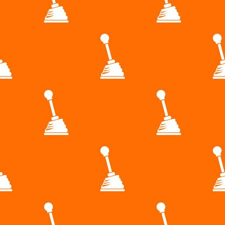 Gear stick pattern repeat seamless in orange color for any design. Vector geometric illustration