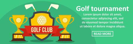 Golf tournament banner horizontal concept. Flat illustration of golf tournament banner horizontal vector concept for web design
