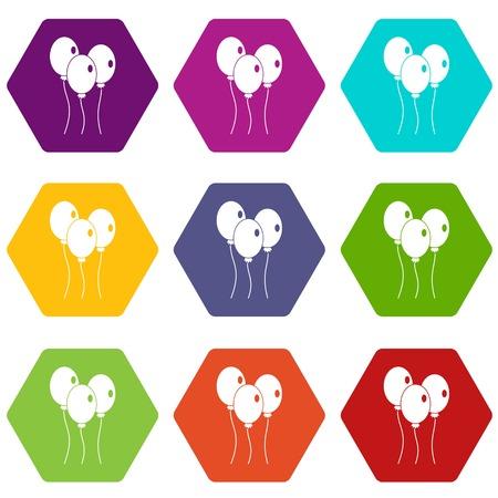 Ballonnen pictogrammenset kleur hexahedron Stockfoto