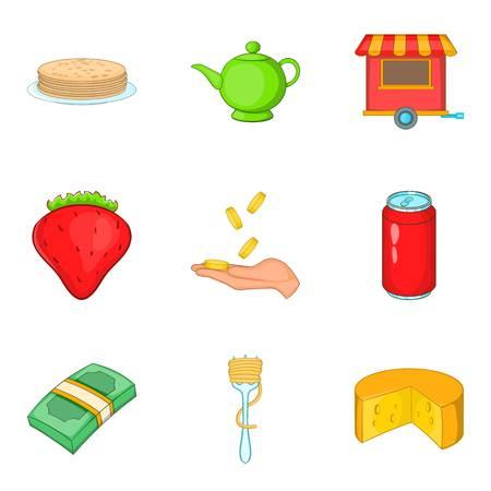 Masterpiece food icons set, cartoon style Illustration