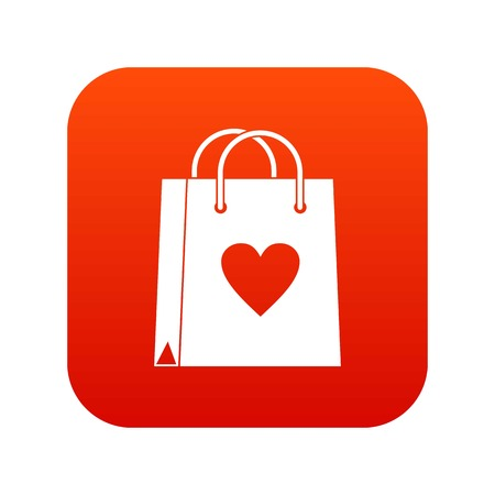 Shopping bag icon digital red Illustration