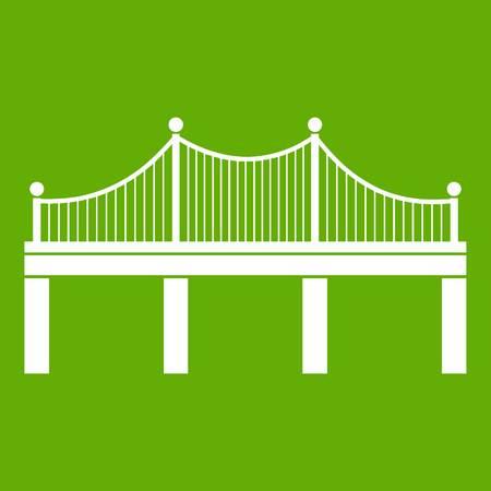 Bridge icon white isolated on green background. Vector illustration