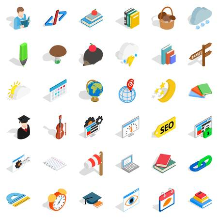 Every day icons set. Isometric style of 36 every day vector icons for web isolated on white background