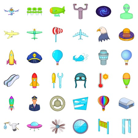 Flight icons set. Cartoon style of 36 flight vector icons for web isolated on white background