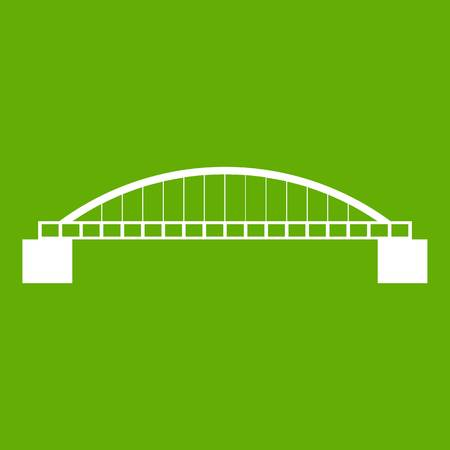 Bridge icon white isolated on green background. Vector illustration