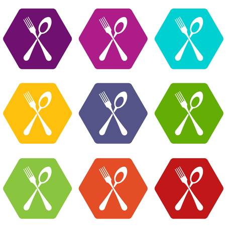 Spoon and fork icon set many color hexahedron isolated on white vector illustration Illustration