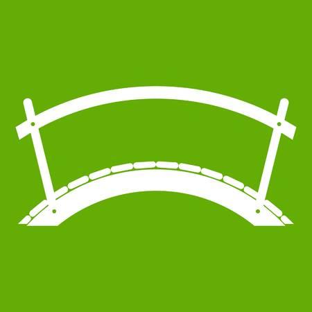 balustrade: Bridge icon white isolated on green background. Vector illustration