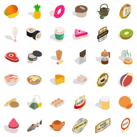 Calorie icons set. Isometric style of 36 calorie vector icons for web isolated on white background Illustration