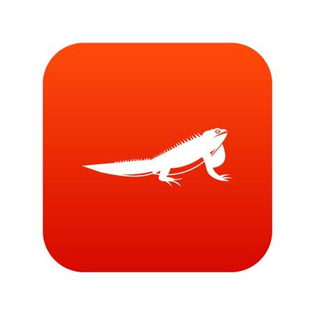 Iguana icon digital red for any design isolated on white vector illustration Illustration