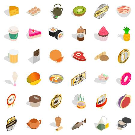 Dietary icons set. Isometric style of 36 active style vector icons for web isolated on white background Illustration