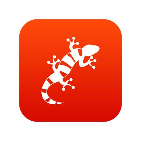 Lizard icon digital red