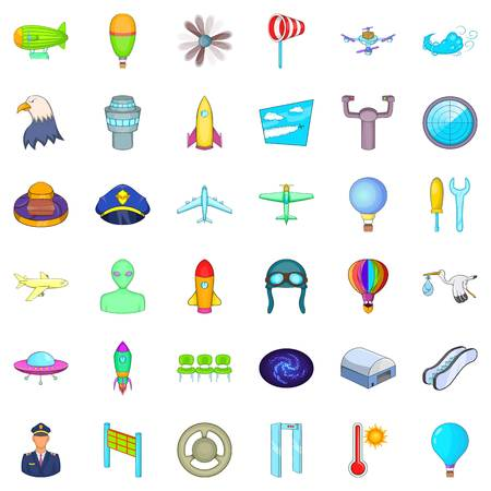Airline icons set. Cartoon style of 36 airline vector icons for web isolated on white background
