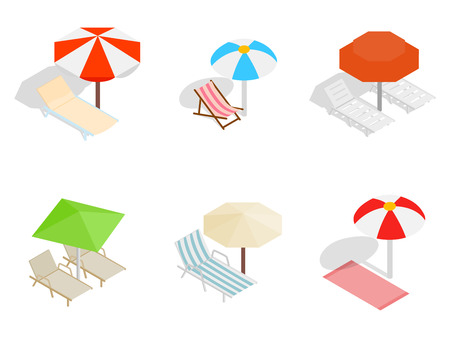 Deck chair icon set, isometric style