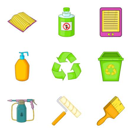 Decompose icons set. Cartoon set of 9 decompose vector icons for web isolated on white background Illustration