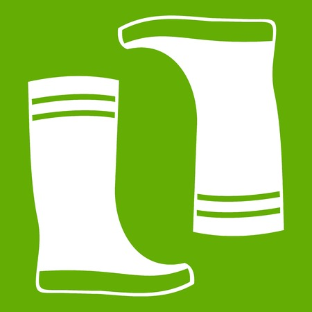 Rubber boots icon green Illustration