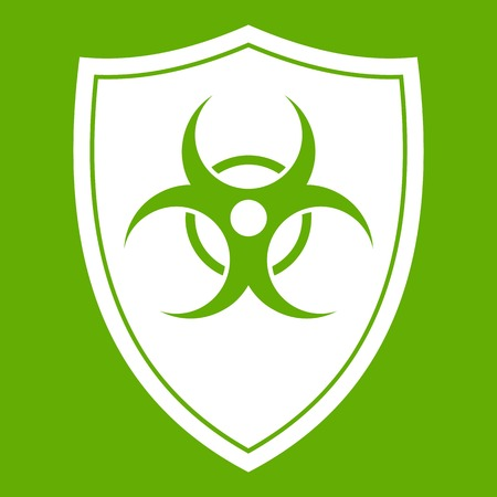 Shield with a biohazard sign icon white isolated on green background. Vector illustration Stock Vector - 87002437