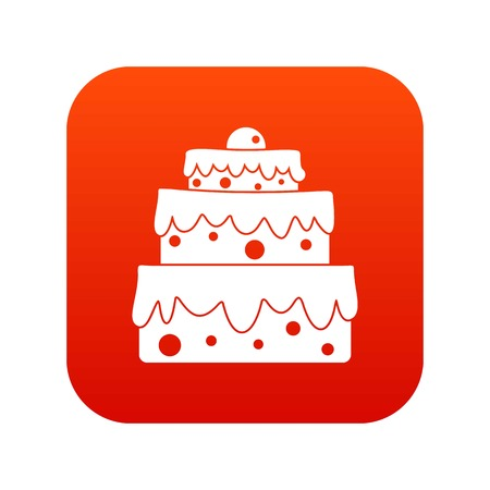 Big cake icon digital red for any design isolated on white vector illustration