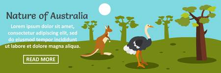 Nature of Australia banner horizontal concept. Flat illustration of nature of Australia banner horizontal vector concept for web design