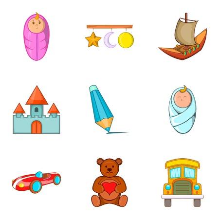Felt-toys icons set, cartoon style