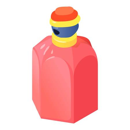 Cherry bottle perfume icon, isometric 3d style Illustration