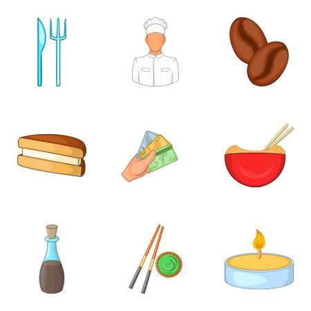 Ordering food icons set, cartoon style Illustration