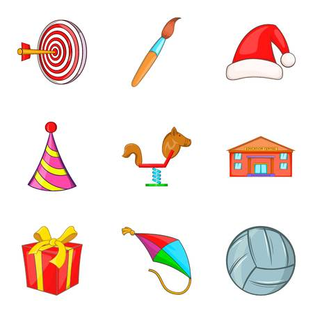 Toy store icons set. Cartoon set of 9 toy store vector icons for web isolated on white background