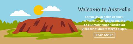 Welcome to Australia banner horizontal concept. Flat illustration of welcome to Australia banner horizontal vector concept for web design Çizim