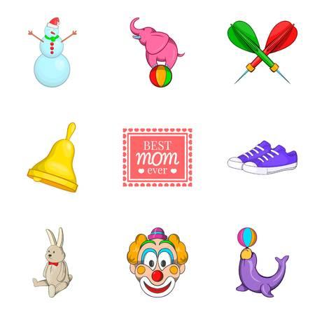 Playgame icons set, cartoon style Illustration