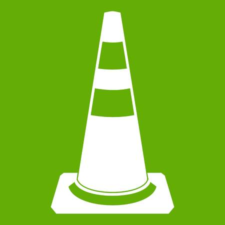 Traffic cone icon white isolated on green background. Vector illustration Illustration