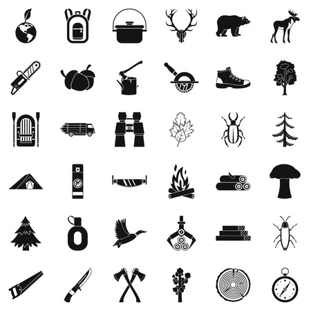 Forest icons set. Simple style of 36 forest vector icons for web isolated on white background