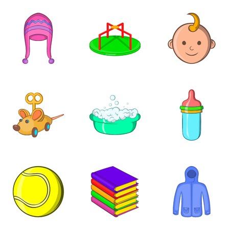 Big toy shop icons set. Cartoon set of 9 big toy shop vector icons for web isolated on white background Illustration