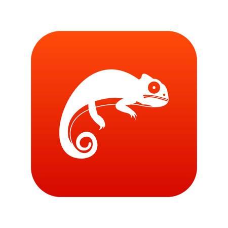 카멜레온 아이콘 디지털 빨간색 흰색 벡터 일러스트 레이 션에서 격리 된 디자인
