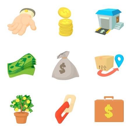 Big money icons set, cartoon style