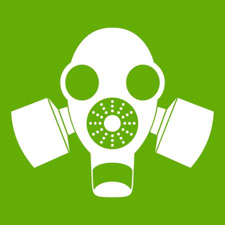 respiratory: Black gas mask icon white isolated on green background. Vector illustration